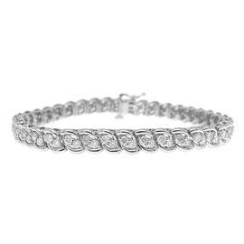 One Off Deal - 9K White Gold 3 Carat Diamond Bracelet I3/G-H, Size 7.5 Gold Wt 13.00 Grams
