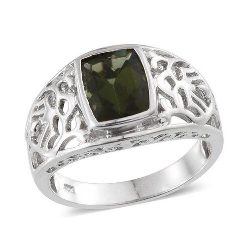 Bohemian Moldavite (Cush) Ring in Platinum Overlay Sterling Silver 2.000 Ct.