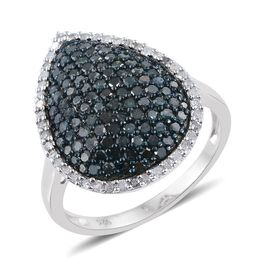 Blue Diamond (Rnd), White Diamond Cluster Ring in Platinum Overlay Sterling Silver 2.000 Ct.