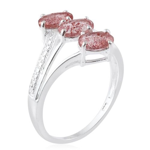 Brazilian Pink Lepidocrocite Natural Quartz (Ovl) Trilogy Ring in Sterling Silver 2.250 Ct.