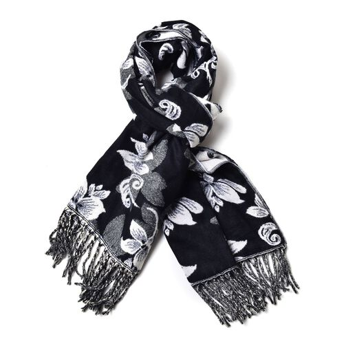 White Colour Floral Pattern Black Colour Scarf with Tassels (Size 180x65 Cm)