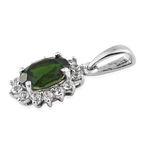 Russian Diopside (Ovl), Natural Cambodian Zircon Pendant in Platinum Overlay Sterling Silver 1.250 Ct.