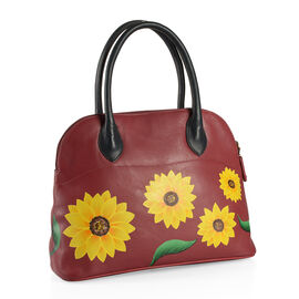 Christmas Special Edition Top Grain Genuine Leather Hand Painted Sunflower Design Shoulder Bag (Size 36X26X13 Cm)