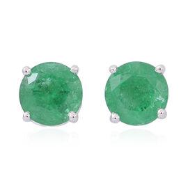 9K W Gold AAA Kagem Zambian Emerald (Rnd) Stud Earrings (with Push Back) 1.000 Ct.