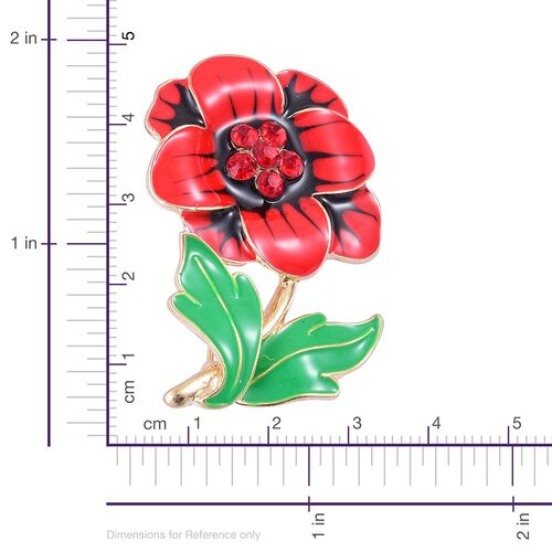 (Option 3) TJC Poppy Design - Red Austrian Crystal Enameled Poppy Flower Brooch in Yellow Gold Tone