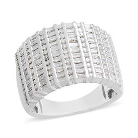 Diamond (Rnd and Bgt) Ring in Platinum Overlay Sterling Silver 1.000 Ct. Silver wt 9.03 Gms. Number of Diamonds 143