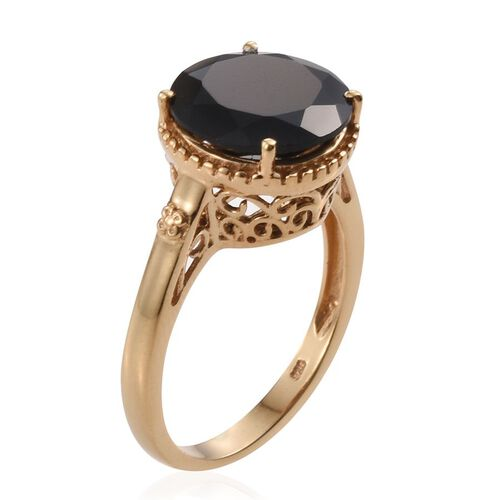 Boi Ploi Black Spinel Solitaire Silver Ring in 14K Gold Overlay 7.750 Ct.