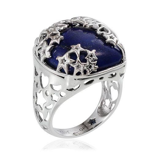 GP Lapis Lazuli (Cush 26.98 Ct), Kanchanaburi Blue Sapphire Ring in Platinum Overlay Sterling Silver 27.000 Ct.