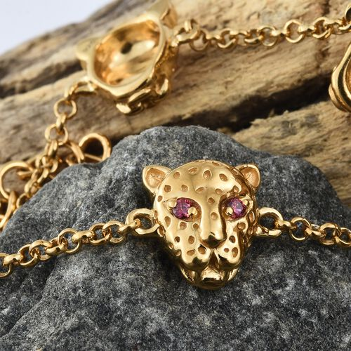 J Francis - 14K Gold Overlay Sterling Silver (Rnd) Leopard Head Bracelet (Size 7.5 with extender) Made with Red SWAROVSKI ZIRCONIA, Silver wt. 11.61 Gms.