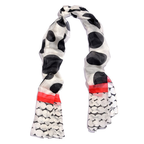 100% Mulberry Silk Black, Off White and Multi Colour Polka Dots Hand Screen Printed Scarf (Size 180X100 Cm)
