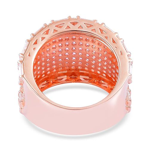 ELANZA AAA Simulated Pink Diamond and Simulated White Diamond Ring in Rose Gold Overlay Sterling Silver