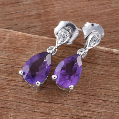 2.50 Ct Amethyst and Natural Cambodian Zircon Silver Drop Earrings in Platinum Overlay (with Push Back)