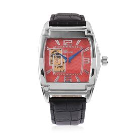 GENOA Automatic Machanical Movement Red Dial Water Resistant Watch in Silver Tone with Black Strap