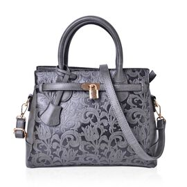 Flower Embossed Grey Tote bag with External Zipper Pocket and Adjustable Shoulder Strap (Size 29x25x10.5)