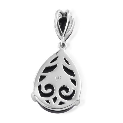 Black Tourmaline (Pear) Drop Pendant in Platinum Overlay Sterling Silver 13.000 Ct.