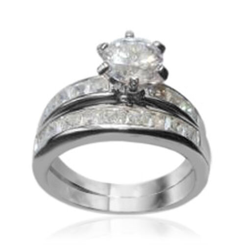 AAA Simulated Diamond (Rnd 2.00 Ct) 2 Ring Set in Rhodium Plated Sterling Silver 4.500 Ct.