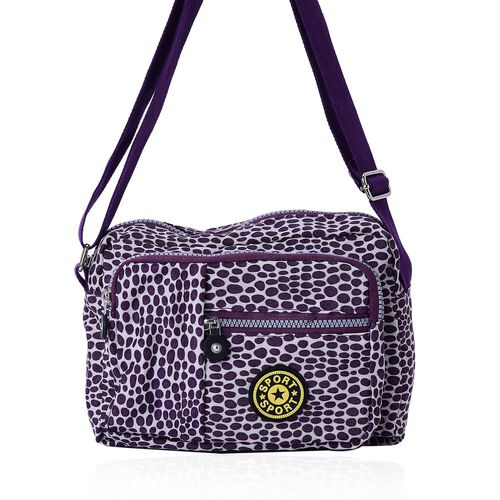 Dark Purple Colour Dots Pattern Waterproof Sports Bag with External Zipper Pocket and Adjustable Shoulder Strap (Size 22.5X17.5X6 Cm)