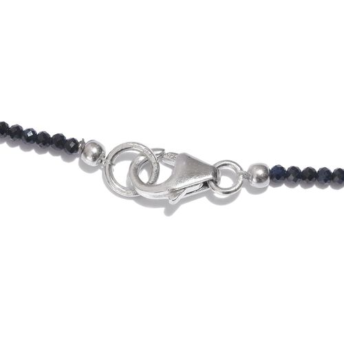 Black Sapphire Necklace (Size 18) in Platinum Overlay Sterling Silver 13.690 Ct.