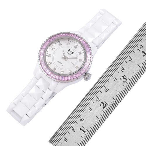EON 1962 Swiss Movement Diamond Studded White Ceramic Watch- Pink