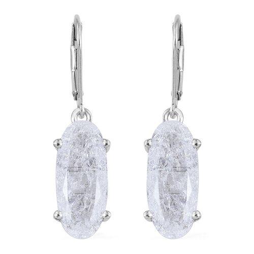 Diamond Crackled Quartz (Ovl) Lever Back Earrings in Platinum Overlay Sterling Silver 10.250 Ct.