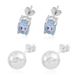 Gift Idea-Set of 2 - Blue Topaz and Ball Stud Earrings (with Push Back) in Sterling Silver 2.000 Ct.