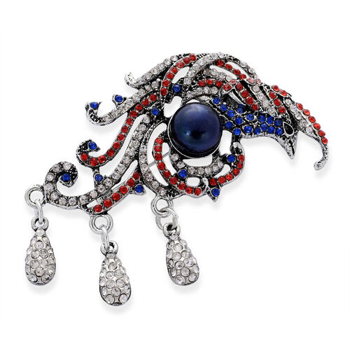 Fresh Water Peacock Pearl and Multi Colour Austrian Crystal Pendant With Chain in Black Tone with Stainless Steel