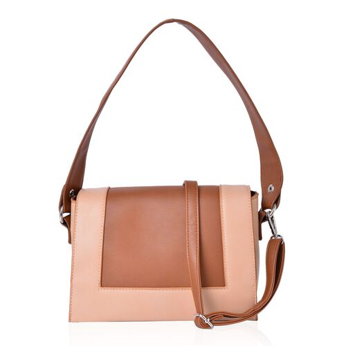 Hampton Camel Colour Crossbody Bag with Adjustable and Removable Shoulder Strap (Size 24X18X8 Cm)