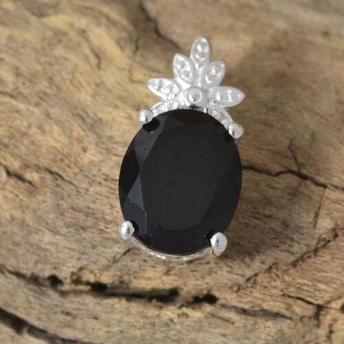 Black Tourmaline (Ovl) Solitaire Pendant in Sterling Silver 3.750 Ct.