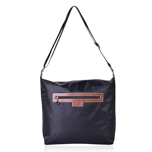 Black Colour Crossbody Bag with External Zipper Pocket and Adjustable Shoulder Strap (Size 38x34x32x12.5 Cm)