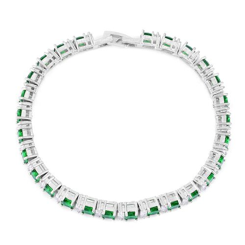 AAA Simulated Emerald and Simulated White Diamond Bracelet (Size 7.5) in Silver Tone