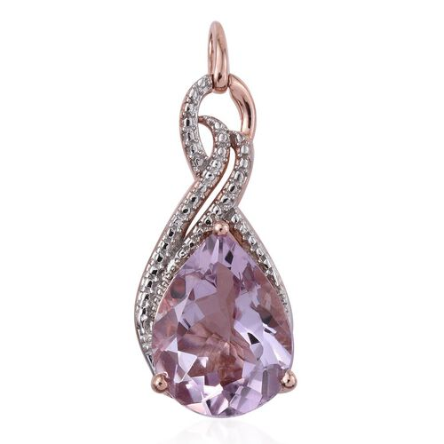 GP Rose De France Amethyst (Pear 7.50 Ct), Kanchanaburi Blue Sapphire Pendant in Rose Gold Overlay Sterling Silver 7.550 Ct.