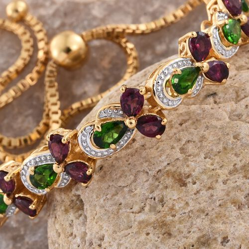 GP Rhodolite Garnet (Pear), Russian Diopside and Kanchanaburi Blue Sapphire Adjustable Bracelet (Size 6.5 to 9) in 14K Gold Overlay Sterling Silver 4.250 Ct. Silver wt 8.70 Gms.