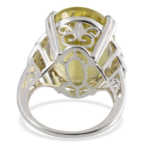 Brazilian Green Gold Quartz (Ovl 20.00 Ct), Yellow Sapphire and Diamond Ring in Platinum Overlay Sterling Silver 20.270 Ct.
