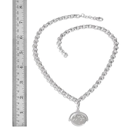 GP Kanchanaburi Blue Sapphire (Rnd) Coin Charm Necklace (Size 18) in Platinum Overlay Sterling Silver