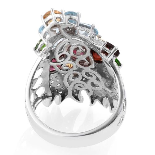 GP Mozambique Garnet (Ovl), Sky Blue Topaz, Rhodolite Garnet, Citrine, Russian Diopside and Multi GemStone Ring in Platinum and Yellow Gold Overlay Sterling Silver 7.635 Ct.