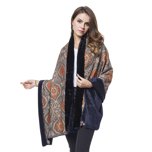 Black, Orange and Multi Colour Baroque Pattern Reversible Shawl with Faux Fur at Back (Size 180X80 Cm)