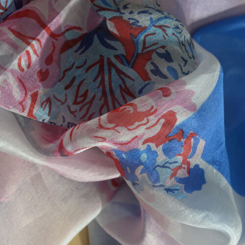 100% Mulberry Silk Dark Blue, Pink and Multi Colour Scarf (Size 180x100 Cm)