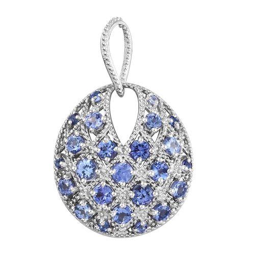 Tanzanite (Rnd) Pendant in Platinum Overlay Sterling Silver 3.000 Ct.