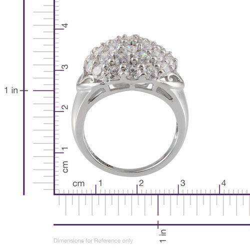 J Farncis - Platinum Overlay Sterling Silver (Rnd) Cluster Ring Made with SWAROVSKI ZIRCONIA