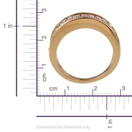 J Francis - 14K Gold Overlay Sterling Silver (Bgt) Half Eternity Band Ring Made With SWAROVSKI ZIRCONIA 1.540 Ct.