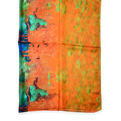100% Mulberry Silk Green and Multi Colour Scarf (Size 170x110 Cm)