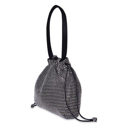 Designer Inspired - White Austrian Crystal Embellished Black Tote Bag (Size 23X19.5X4 Cm)