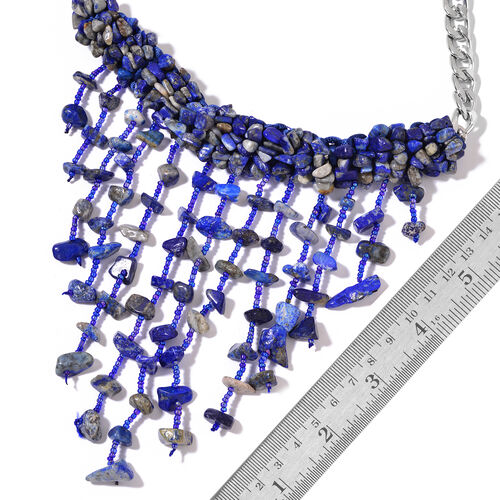 Lapis Lazuli and Blue Colour Beads Waterfall Necklace (Size 16) in Silver Tone 528.000 Ct.