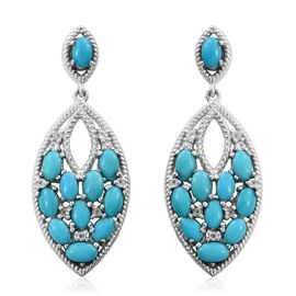 AAA Arizona Sleeping Beauty Turquoise (Ovl), White Topaz Earrings (with Push Back) in Platinum Overlay Sterling Silver 5.120 Ct.