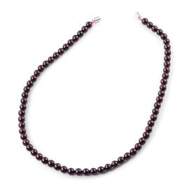 Indian Garnet Ball Beads Necklace (Size 20) with Magnetic Clasp in Rhodium Plated Sterling Silver 355.000 Ct.