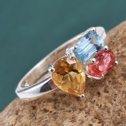 Citrine (Pear 1.00 Ct), Sky Blue Topaz and Padparadscha Quartz Ring in Sterling Silver 2.250 Ct.