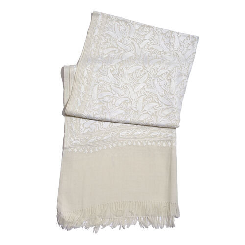 100% Merino Wool White Paisley and Leaves Embroidered Off White Colour Scarf (Size 190x70 Cm)