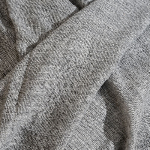 Cashmere & Merino Wool Blend Grey Colour Scarf with Fringes (Size 200X65 Cm) Weight 110 Gms
