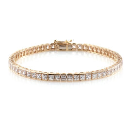 J Francis - 9K Yellow Gold (Princess Cut) Tennis Bracelet (Size 7.5) Made with SWAROVSKI ZIRCONIA. Gold Wt 9.30 Gms
