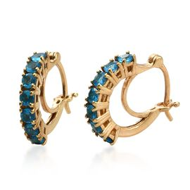 Malgache Neon Apatite Hoop Earrings (with Clasp) in Gold Plated Silver 1.25 Ct